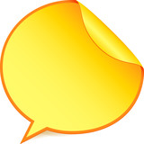 Yellow paper speech bubble sticker