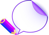 Violet cartoon pencil with paper speech bubble