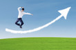 Businessman success jump over arrow cloud