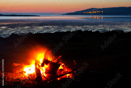 roaring bonfire at the beach