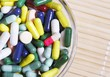 Pile of colored pills in a glass bowl