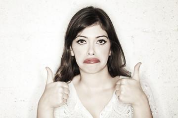 Sarcastic Thumbs Up Sad Woman
