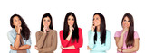 Five pensive brunette girl