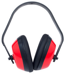 Hearing protection red ear muffs (with clipping paths)