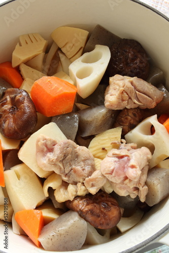 japanese cuisine, cooking of simmered vegetable and chicken