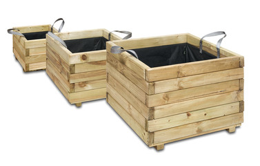 A set of wooden boxes for flowers isolated over white.