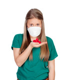 Allergic teen with face mask looking red petals poster