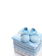 Baby boy shoes and swaddling blankets