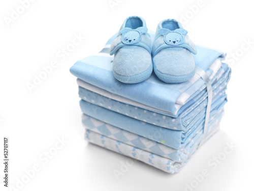 canvas print picture Baby boy shoes on blankets