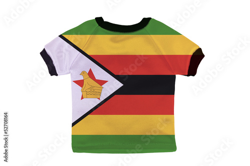 Small shirt with Zimbabwe flag isolated on white background