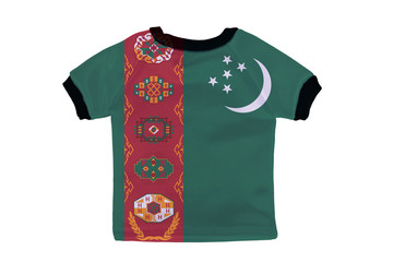 Small shirt with Turkmenistan flag isolated on white background
