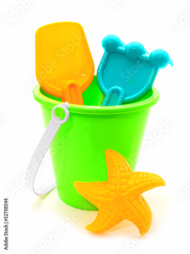 Child's beach toys isolated on white