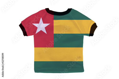 Small shirt with Togo flag isolated on white background