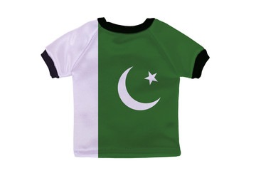 Small shirt with Pakistan flag isolated on white background