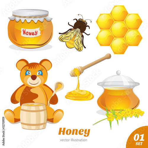 Set of honey, honeycomb, a bear, a pot of honey
