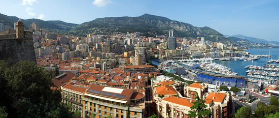 Monaco Harbour and Monte Carlo viewed from the Palace Square