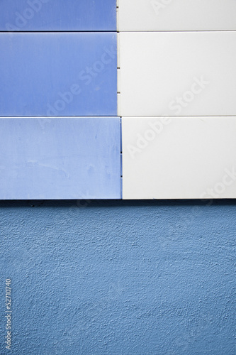 Blue building wall