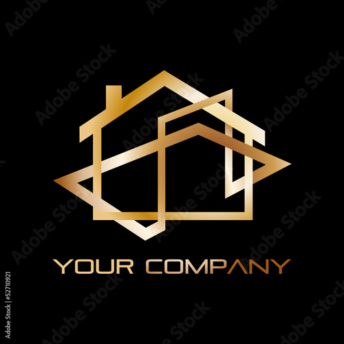 Vector golden Logo house, real estate agency
