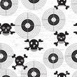 Targets and skulls, retro vintage grunge seamless background.