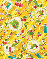 Seamless pattern with party supplies
