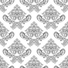 Seamless damask pattern - black template on white
