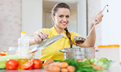 Portrait of  woman cooking  vegetarian food