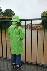 young girl with waterproof watch with dismay the growing river l