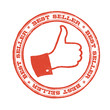 Best seller stamp with thumb up symbol. Vector