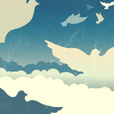 Doves in summer sky with clouds. Vector
