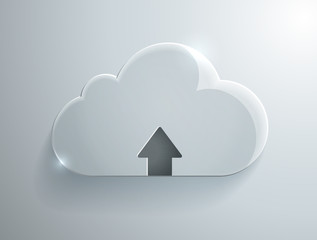 Upload cloud glass icon