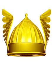 golden Winged helmet front view