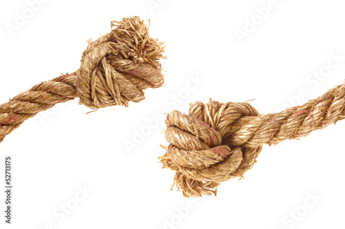 Rope knot isolated on white background.