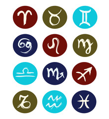 Hand drawn signs of zodiac sorted by order