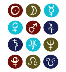 Hand drawn signs of planet symbols set of icons