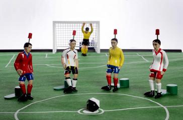 Tipp- Kick Figuren als Sybol fuer die Gruppe A der Fussball WM