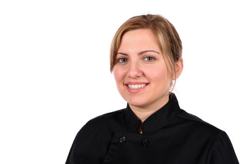 Gourmet Chef blond model in jacket.