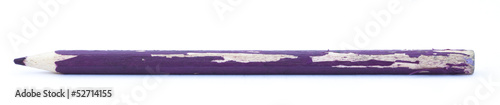 A used and bitten purple pencil isolated on white background.