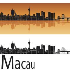 Macau skyline in orange background