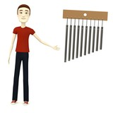 3d render of cartooon character with wind chimes poster