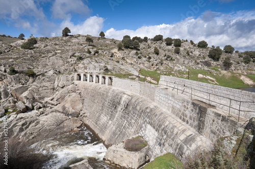 Concrete dam wall over the river Manzanares, Spain
