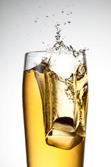 beer splash with ice