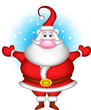 cute christmas santa claus with snow background