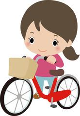 自転車を降りて歩く女性