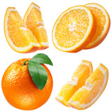 orange fruits with leaf and slices on white. collection with cli