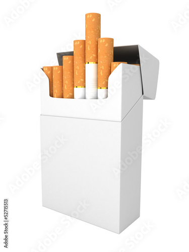 Open full pack of cigarettes isolated - 52715513