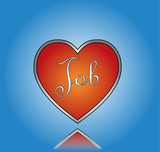 Love Job concept Illustration with Red Heart and Job Text