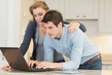 Couple surfing in the internet