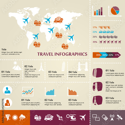 Travel and tourism inforgaphic with icons, charts and data flow