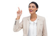 Businesswoman showing something with her finger