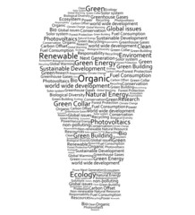 Various words forming a light bulb